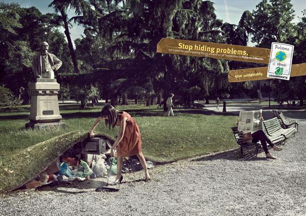 Legambiente环保组织广告: 在地毯下
