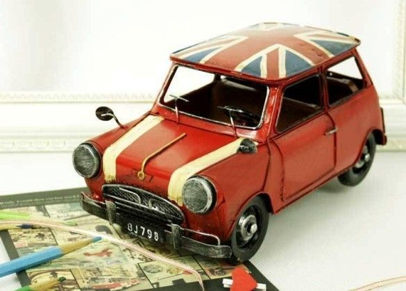 Handmade Auntque Tin Model Car-Mini Cooper