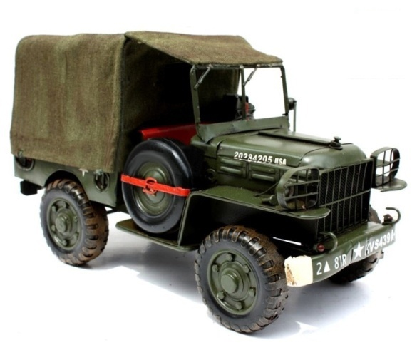 Handmade Antique Tin Model Car-World War Two Dodge WC51