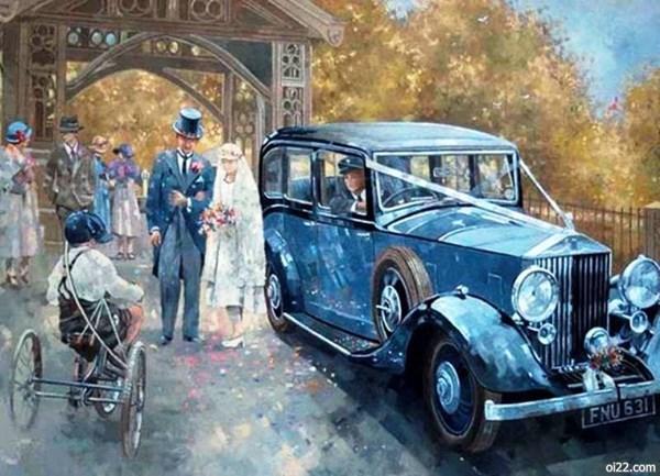 来自艺术家Peter Miller的复古水彩汽车插画