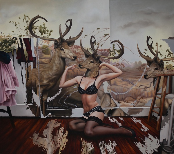 Emily Burns油画作品–鹿女Deer Girls Series
