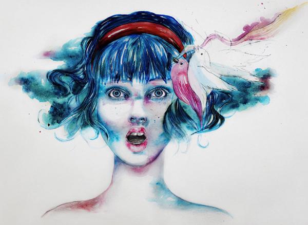 水彩肖像插画