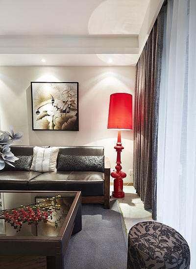 书香门第的气质 红色时髦三居室