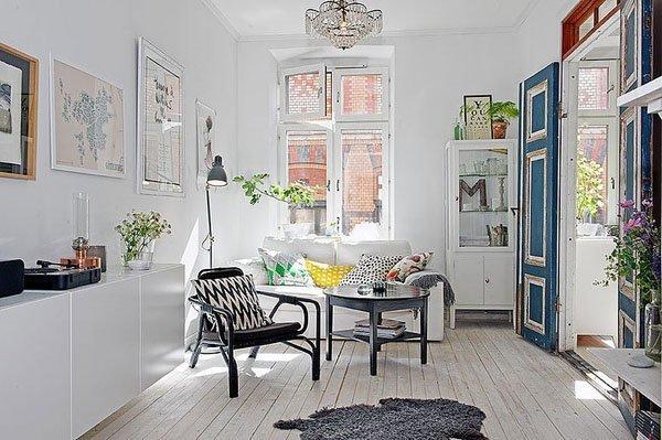 斯德哥尔摩52平米复古风格纯白公寓