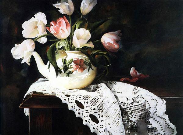 【水彩画】美国Arleta Pech《鲜花与蕾丝》
