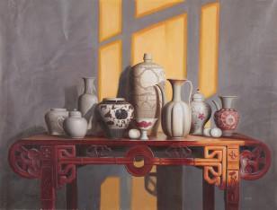 林良慧的瓷器主题布面油画艺术