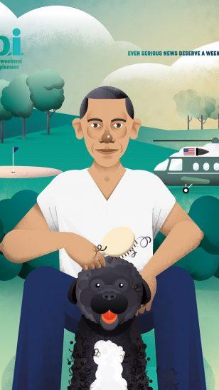 Jornal i: Barack Obama - 葡萄牙《Jornal i》杂志广告:严肃新闻也需要过周末