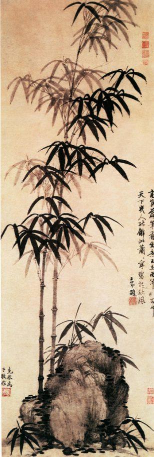 《雨竹图》高克恭 立轴纸本设色 纵121.6厘米横42.1厘米 北京故宫博物院藏