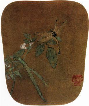 《豆花蜻蜓图》