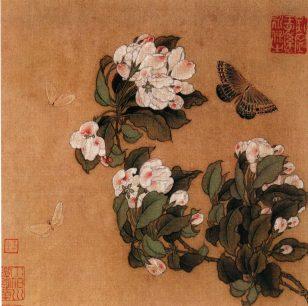 《海棠蛱蝶图》