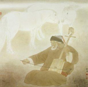草原牧歌/张鸿飞 2001年 纸本设色 68cm x 68cm 自藏