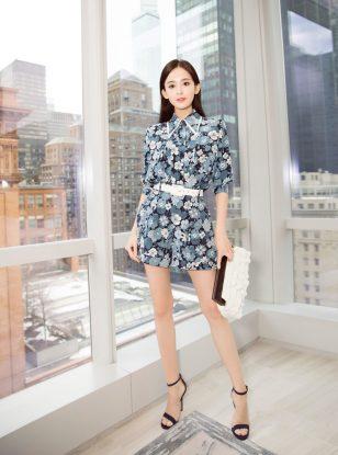 娜扎纽约时装周看秀清新优雅气质出众高清图片