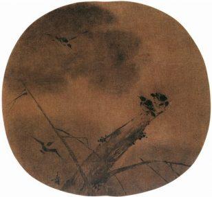 柳树寒鸦图