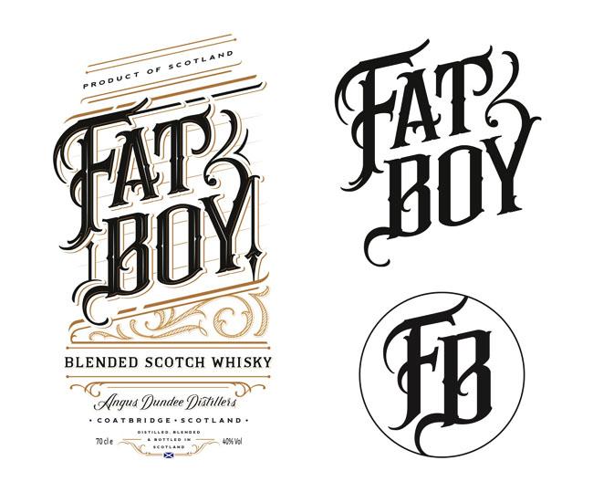 威士忌手绘字体瓶贴设计