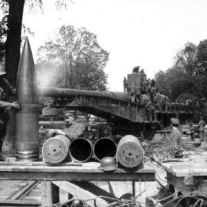 一战德国SK L45 380毫米远程火炮的炮弹。