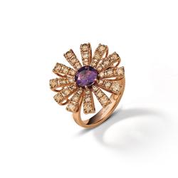 Margherita 玫瑰金多褐钻紫晶戒指