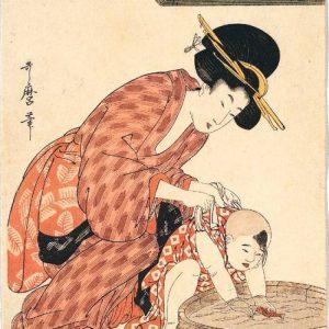 喜多川歌麿-母子図 たらい遊