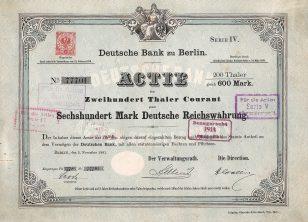 德意志银行股票,1881年11月2日发行