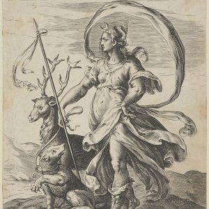 戴安娜拿着一支长矛,右手拿着一头雄鹿,用皮带牵着一只熊。