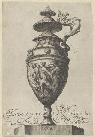 盘子10:带有格里芬形状的手柄的带盖花瓶和带有垂褶舞蹈人物的带状装饰,来自古董花瓶(Vasa a Polydoro Caravagino')