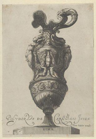 盘子7:用花瓶和两个大女性人物装饰的花瓶装饰的花瓶或水壶,其腿变成格里芬爪,来自古董花瓶(Vasa a Polydoro Caravagino)