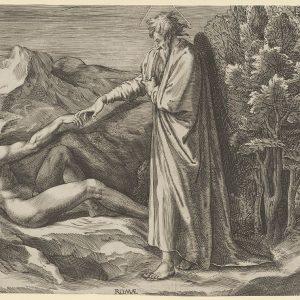 亚当的创造,他倚靠在左边,触摸上帝的手