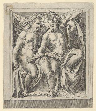 两个坐着的天使,面向左边,读着一本歌书,从天使的演唱会。
