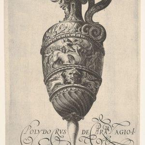 容器与怪诞的面具,和frieze狮鹫,用牛和人成浮雕,在复制后的反向转动后,凯鲁比诺阿尔贝蒂,Polidoro的卡拉瓦乔)