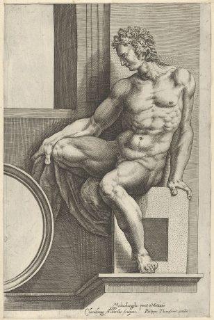 """西斯廷教堂 米开朗基罗的""""最后审判""""壁画之后,一个裸体的男人(伊格努多)面朝左坐着,手里拿着一块织物。"""
