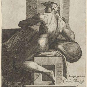 一名裸体男子(伊格努多),坐在西斯廷教堂米开朗基罗的《最后的审判》壁画后,面向左边