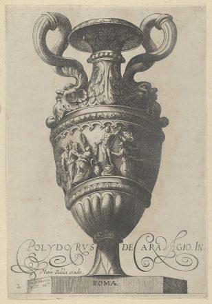 """图2:古董花瓶(""""Vasa a Polydoro Caravagino""""),双柄花瓶,中间底座上有一个裸体人像。"""