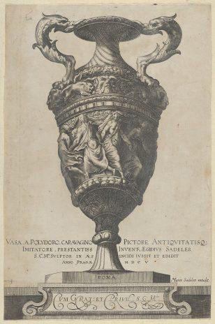 1:描绘了一个双柄底座,上面有跳舞的仙女,来自古董花瓶(Vasa a Polidoro Caravagino)