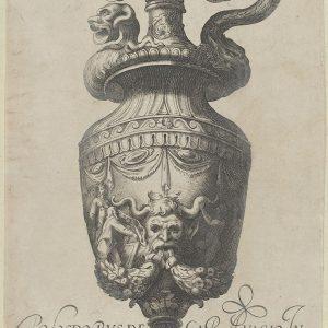 盘子3:带有萨提尔面具和花环的花瓶,来自古董花瓶(Vasa a Polydoro Caravagino)