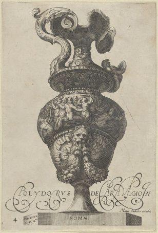 盘子4:带有美人鱼和半人马的弗里兹的花瓶或大口水壶,以及带有花环和缎带的狮子头下方,来自古董花瓶('Vasa a Polydoro Caravagino')