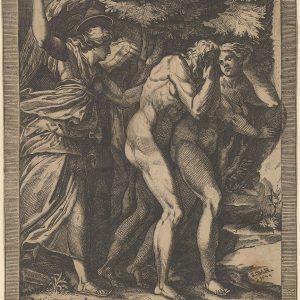 亚当和夏娃被驱逐,身后有一位天使挥舞着剑。