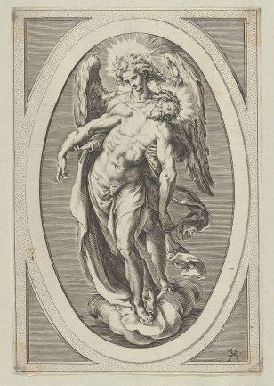 一位天使站在云上支持基督