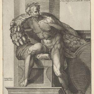 """西斯廷教堂 米开朗基罗 的 """"最后审判""""壁画之后,一个肩上戴着橡子花环的裸体男人(伊格纳多)"""