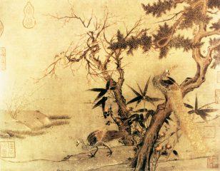 红梅孔雀图