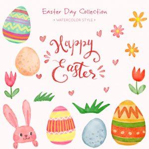 彩绘复活节兔子和6个彩蛋矢量素材