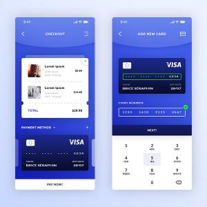 金融app 支付页面、添加新卡页面 .psd素材下载