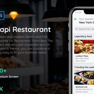 Capi餐厅外卖app ui .sketch .psd素材下载