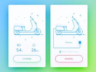电动车控制app ui psd下载