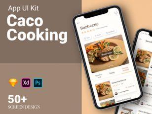 Caco Cooking 美食app ui kit .psd .xd .sketch素材下载