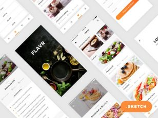 Flavr App iOS UI Kit skecth素材下载