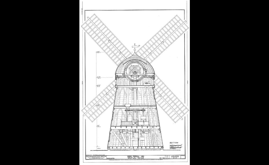 HAER NY,52-BRIG,4- (sheet 1 of 6) - Beebe Windmill, Hildreath Lane & Ocean Avenue (moved several times), Bridgehampton, Suffolk County, NY Drawings from Survey HAER NY-67