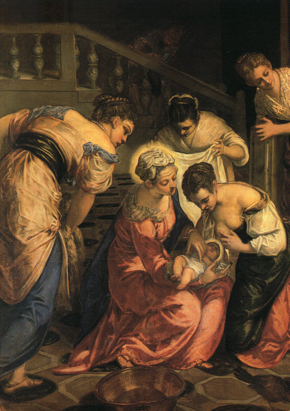 意大利画家-丁托列托(Tintoretto)The Birth of John the Baptist, (Detail)
