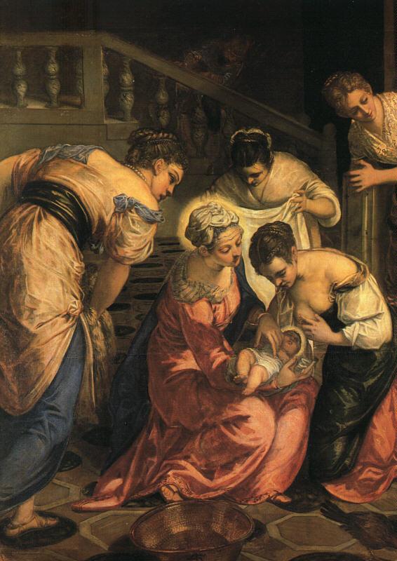 意大利画家-丁托列托(Tintoretto)The Birth of John the Baptist, (Detail)
