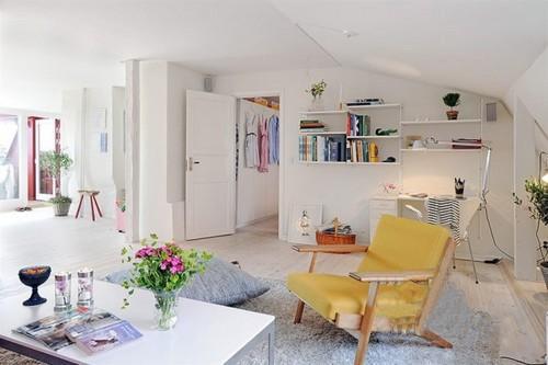 清爽实用宜家风格的顶楼小公寓