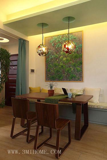 三米设计—清新宁静之美 淡绿复式小家