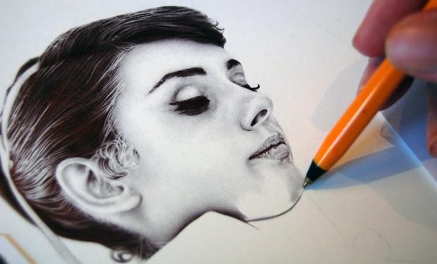 英国艺术家James Mylne:精细的圆珠笔肖像画作